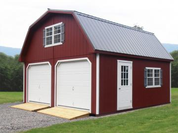 Red garage with two garage doors