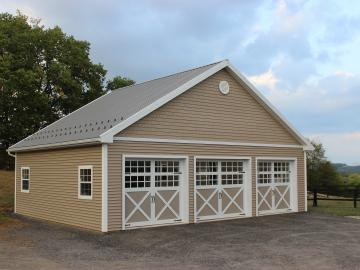3 bay tan decorative garage doors