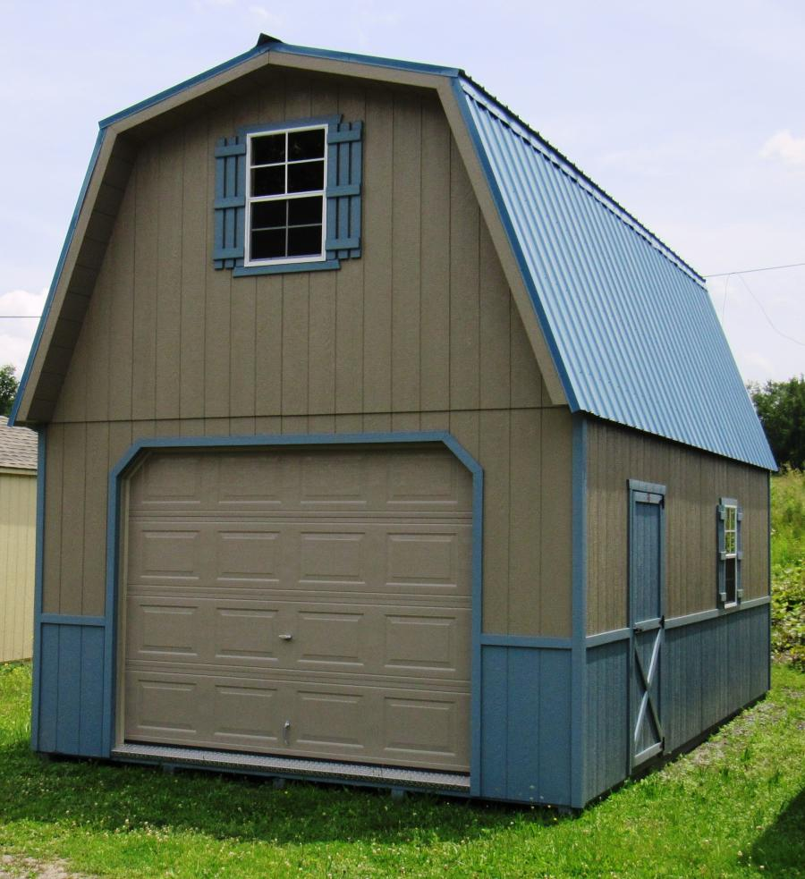 14x24 1 car 2 story garage rocky mountain sheds for Two story car garage